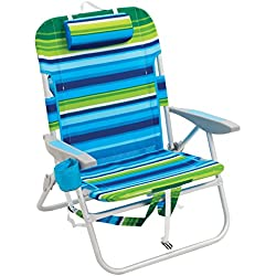 Rio Beach Big Guy Backpack Chair, Blue/Green Stripe