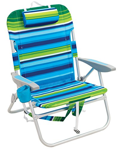 (Rio Beach Big Guy Backpack Chair, Blue/Green Stripe)