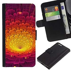 LECELL--Cuero de la tarjeta la carpeta del tirón Smartphone Slots Protección Holder For Apple Iphone 6 PLUS 5.5 -- Colorida flor del pétalo --