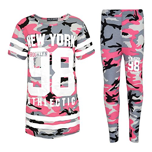 a461c702ae6a70 A2Z 4 Kids® Girls NEW YORK BROOKLYN 98 ATHLECTIC Camouflage Print Trendy Top    Fashion Legging Set New Age 7 8 9 10 11 12 13 Years