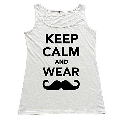 Wei-JR Women's Keep Calm Wear Mustache Tank Tops