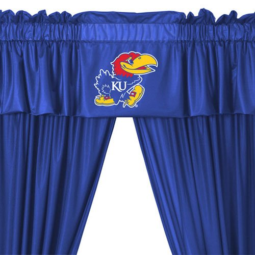 Kansas Jayhawks COMBO Shower Curtain & Valance/Drape Set (Drapes Size 82 X 63) - Decorate Your Shower and Bathroom Window & SAVE ON BUNDLING!