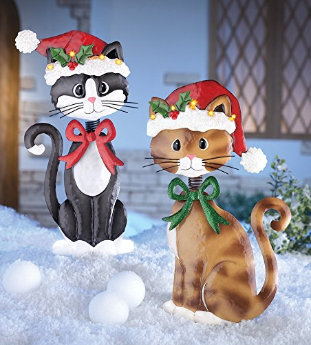 set of 2 adorable metal christmas cats lighted santa hat brown tuxedo kitties holiday lawn yard outdoor decoration by knl store - Lighted Outdoor Christmas Wreaths