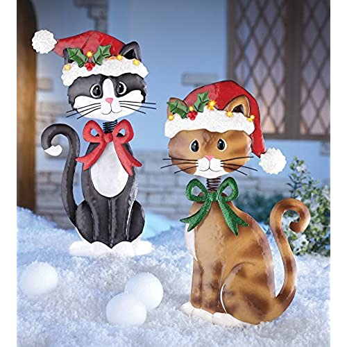 set of 2 adorable metal christmas cats lighted santa hat brown tuxedo kitties holiday lawn yard outdoor decoration by knl store - Christmas Lawn Decorations Amazon