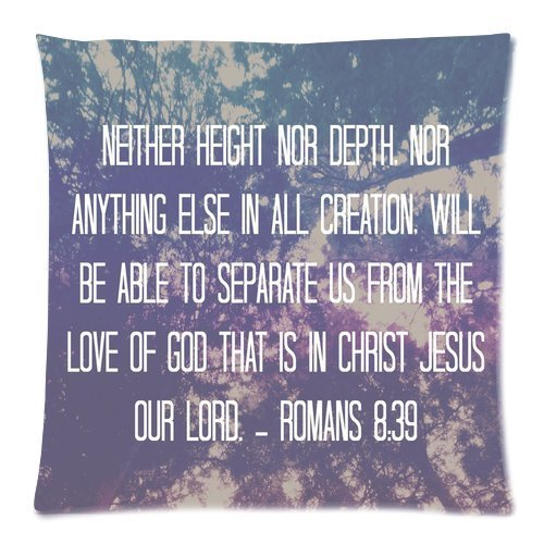 Top Quality Bible Verse Custom Zippered Square Pillowcase 18×18 (one side) Cushion Cover Case Pillow18-880