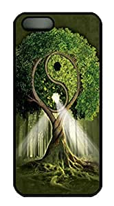 Covers Yin Yang Tree Fantasy Custom PC Hard Case Cover for iPhone 5/5S Black