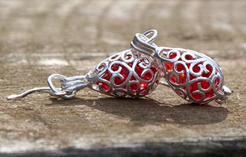 Recycled Vintage 1940's Red Beer Bottle Filigree Teardrop Earrings
