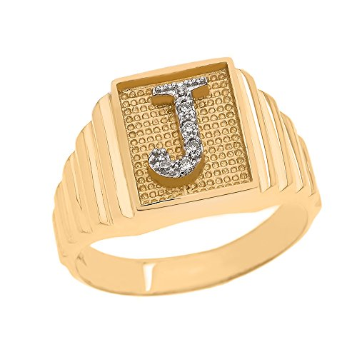 Men's 10k Yellow Gold Layered Band Square Face Diamond Initial Letter J Ring (Size 10.5)