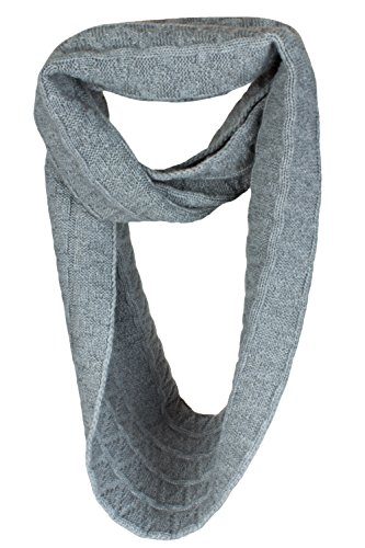 Love Cashmere Ladies Zig-Zag 100% Cashmere Infinity Scarf Snood - Light Gray - made in Scotland
