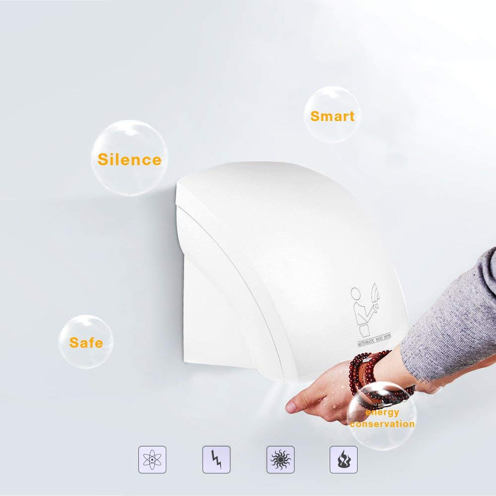 SSLine Automatic Hand Dryer Ultra-Quiet High Speed Hot Air Hand Blower with Infrared Sensor for Commercial//Hotel//Home Use
