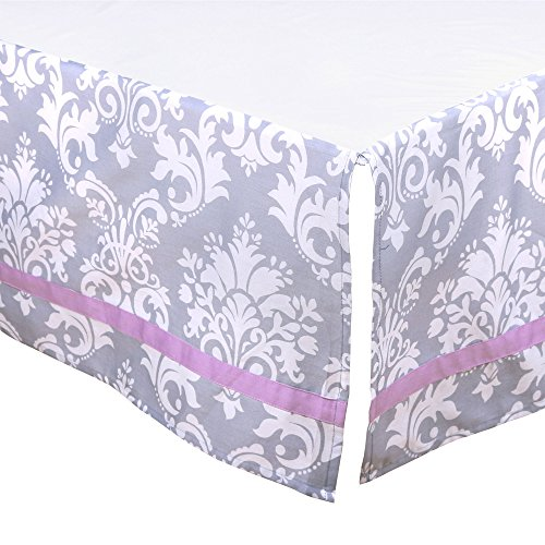 Grey Damask Tailored Crib Dust Ruffle with Purple Accents by