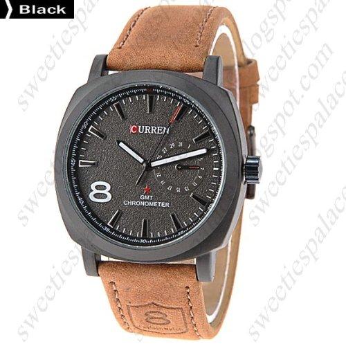 (CURREN) Chic Round Case Quartz Analog Wristwatch Timepiece with Genuine Leather Band for Men (Analog Round Timepieces)