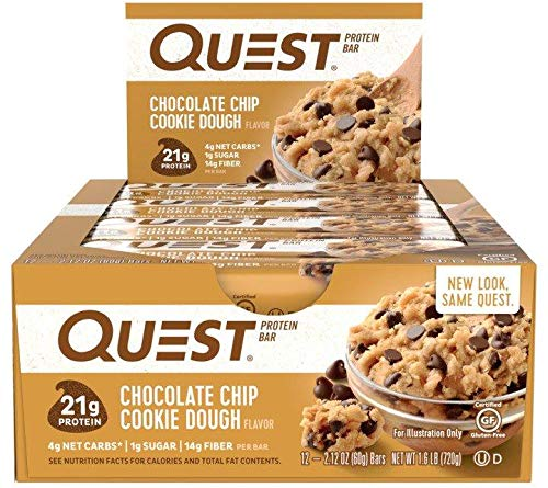 Quest Nutrition Protein Bar Chocolate Favorites (Cookies and Cream and Chocolate Chip Cookie Dough). Low Carb Meal Replacement Bar with Over 20g Protein. High Fiber, Soy-Free, Gluten-Free (24 Count) by Quest Nutrition (Image #2)
