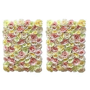 Fenteer 2pcs Artificial Rose Flower Wall Panels Home Wall Shop Decor Wedding Venue Main Road Pillar Photo Background 8