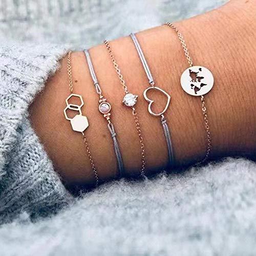 Boho Bangle Heart Star Moon 1set 30 Styles Boho Bangle Elephant Heart Shell Star Moon Bow Map Crystal Beads Bracelet Charm Party Wedding Jewelry Accessories