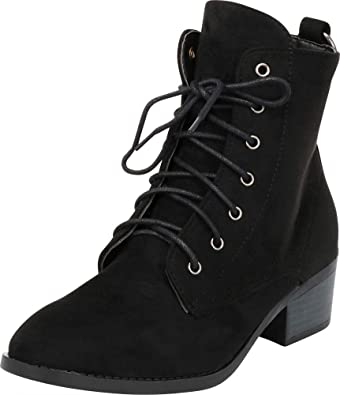Cambridge Select Women's Round Toe Lace Up O Ring Chunky Heel Ankle Combat Boot by Cambridge Select