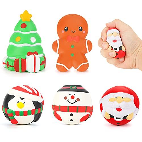 LovesTown Christmas Slow Rising Toys, 5 PCS Christmas Themed Squishy Toys Jumbo Christmas Squishies Christmas Stress Relief Toys for Christmas Party Favors