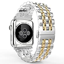 Apple Watch Band Series 3 Band, MoKo Stainless Steel Metal Replacement Smart Watch Strap Bracelet for iWatch 38mm 2017 Series 3 / 2 / 1 - SILVER & GOLD (Not Fit iWatch 42mm 2016)