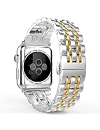 Apple Watch Band Series 3 Band, MoKo Stainless Steel Metal Replacement Smart Watch Strap Bracelet for iWatch 42mm 2017 Series 3 / 2 / 1 - SILVER & GOLD (Not Fit iWatch 38mm 2016)