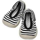 Bold N Elegant Baby Girl Boy Stripe Shoe Socks with Rubber Sole Infant Newborn Kids Floor Socks Shoes Anti Slip Bootie Moccasins