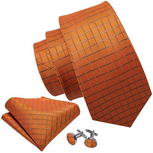 orange ties for men silk necktie handkerchief cufflinks set plaid check ties