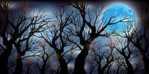 AOFOTO 12x6ft Deserted Bare Trees Photography Background Cool Moon Night Halloween Party Backdrop All Saints' Day Hallowmas Scene Festival Kids Trick Or Treat Decoration Wallpaper Photo Studio Props ()