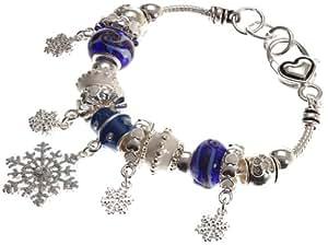 "Lova Jewelry ""Christmas Snowfall"" Murano Glass Beaded Charm Bracelet"