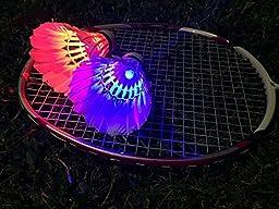 IYAYA LED Badminton Shuttlecock Dark Night Glow Birdies Lighting For Outdoor & Indoor Sports Activities, 4-piece