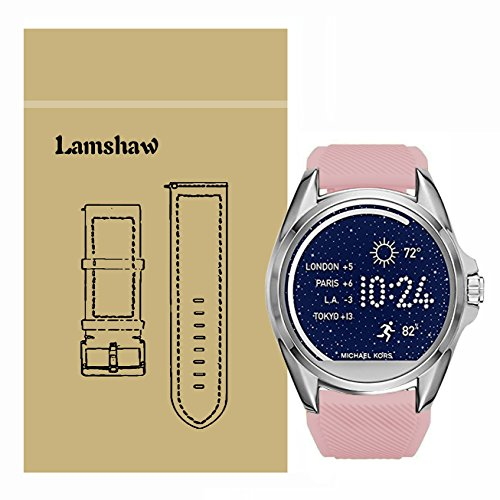 Lamshaw Classic Silicone Replacement Band for Michael Kors Smartwatch Strap (Pink)