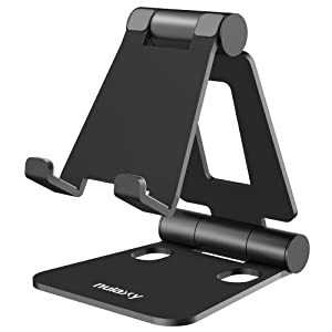 Nulaxy Adjustable Phone Stand, Tablet Stand, Cell Phone Stand, Desktop Phone Holder Cradle Dock Compatible with iPhone Xs Xs Max Xr X 8 7 6 6s Plus, iPad, Nintendo Switch, Tablets (4-10''), All Phones