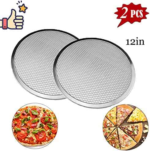 "Pizza Pans with Holes,Pizza Screen Aluminum Pizza Pan Round Non-Stick Tray Tool Chef's Baking ScreenSeamless-Rim Commercial Grade 12-20inches (12"")"