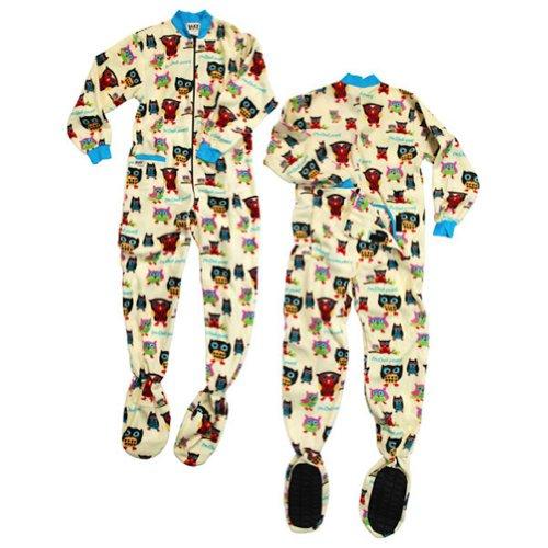Unisex Footeez Adult Pajama Onsies (Medium, I'm Owl Yours Owl PJ Bodysuit) (Owl Yours Pajamas)