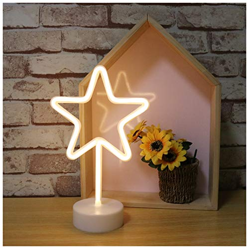 Neon Star Signs LED Neon Light Sign with Holder Base Power by Battery&USB Marquee Sign for Home Party Birthday Bedroom Bedside Table Decoration Children Gifts -