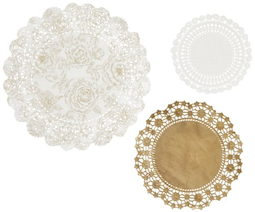 Talking Tables Metallic Party Porcelain Doilies,Gold,24-Pack