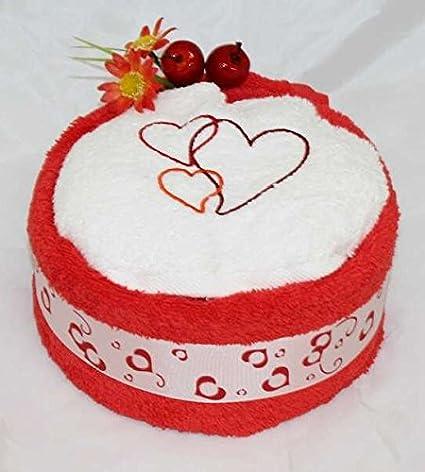Toalla de mano Pastel/Tarta en forma de corazón bordado con tres corazones, colour
