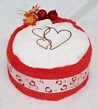 Toalla de mano Pastel/Tarta en forma de corazón bordado con tres corazones, colour rojo/blanco, talla M: Amazon.es: Deportes y aire libre