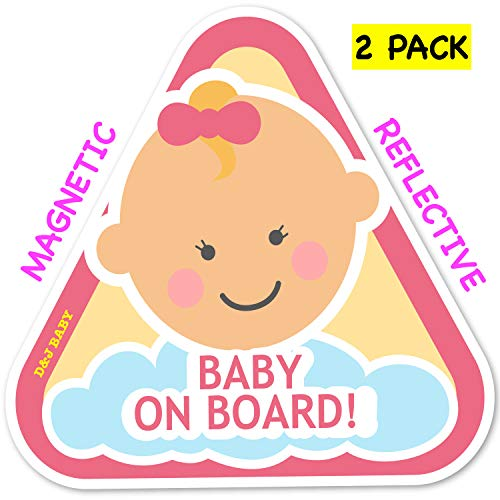 New: Baby on Board Magnetic and Reflective Sign for Car (2 Pack) (Baby Girl)