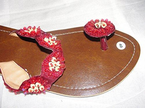 Flip Sandale Knopf Rot Zehentrenner Zehenpantolette