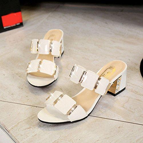 Glissade Glisse imperméables Bas de sans Talons pour de Blanc Sandales Forme Pantoufles épais à d'été Plate Femmes Y7q5A8w