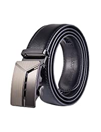 MOZETO Mens Belt, Adjustable Ratchet Leather Dress Belt for Men with Automatic Slide Buckle, Trim to Fit