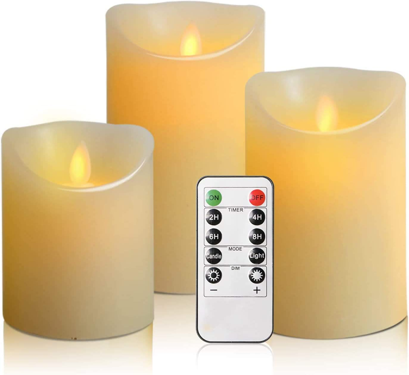 """Artmory Flameless Candles Flickering, Battery Operated Electric Led Candles Set with Remote and Timer (4"""" 5"""" 6"""" Set of 3 Ivory)"""