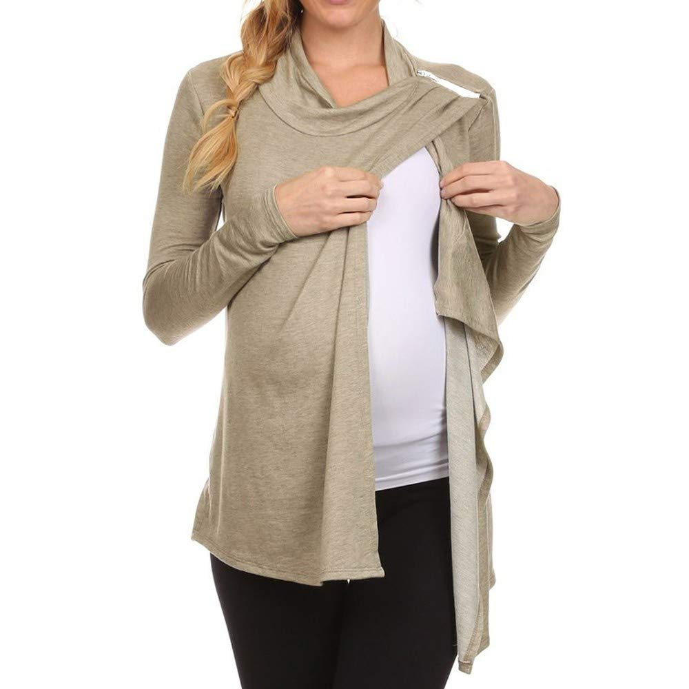 Fanteecy Fashion Women Maternity Long Sleeve Cowl Neck Side Open Pregnancy Nursing Tops T-Shirts for Breastfeeding