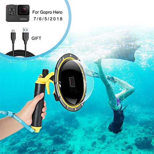 - for GoPro Dome Port, Diving Case for GoPro Hero Black 5 6 7 2018 with Trigger Pistol and Floating Grip Cover, Telesin GoPro Waterproof Protective Dive Housing, Gopro Lens Hood Waterproof Case