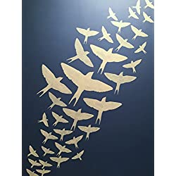 "Flying Bird Stencils - Collection of 6 – Sizes Range From 9 ½"" – 2 3/8"" – 10 mm Clear Plastic Sheeting – for Use As Wall Stencil or for Paper Cut-outs"