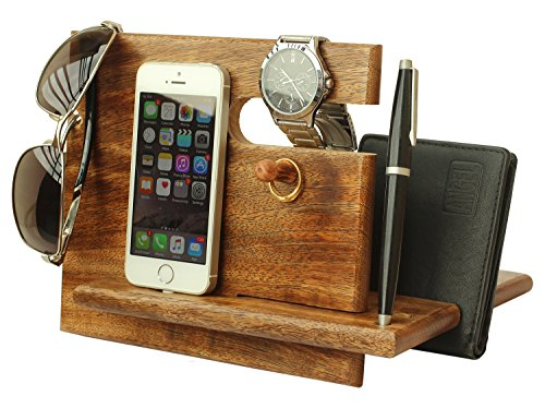 DEAL OF THE DAY - AB Handicrafts - Universal Wooden Docking Station, Christmas Gifts For Men, Gifts For Dad, iPhone, Android Docking Station, Gifts For Husband, 7th Anniversary Gifts For Him
