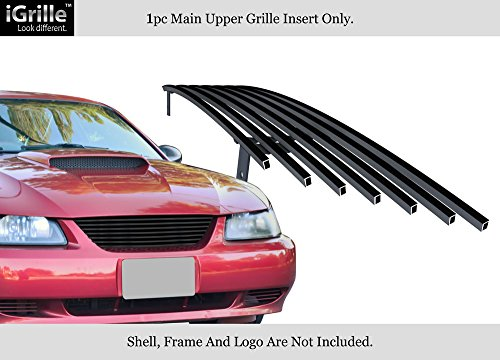 2000 Mustang Grill - APS Black 304 Stainless Steel Billet Grille Compatible with 1999-2004 Ford Mustang F86009J