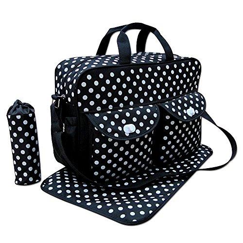 Nido del Bimbo–Juego de bolsas para Cambio de Pañales, 3 unidades + Bolso + Cambiador + Porta Biberón STAR BLACK SPOT BLACK