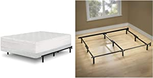 Zinus 5 Inch Low Profile Smart Box Spring, King & Michelle Compack 9-Leg Support Bed Frame, for Box Spring and Mattress Set, King