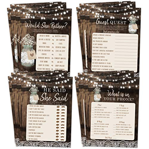Bridal Shower Bachelorette Games, Rustic Wood Barrel Mason Jar, He Said She Said, Find The Guest Quest, Would She Rather, Phone Game, 25 games each