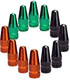 Presta Valve Caps - Tire Valve Stem Caps 12pcs - Anodized Presta Valve Caps - Dust Caps Tire - Bike Presta Valve Cap Orange Black Green Aluminum Color - Bicycle Presta Valve Cover - Air Caps Tires